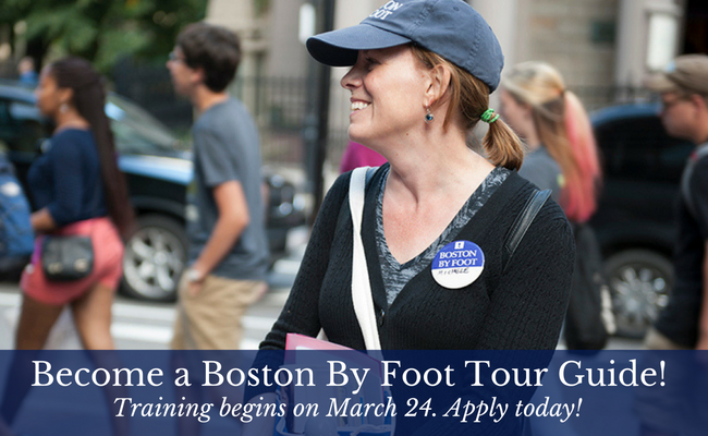 Become a Boston By Tour Guide. Training begins on March